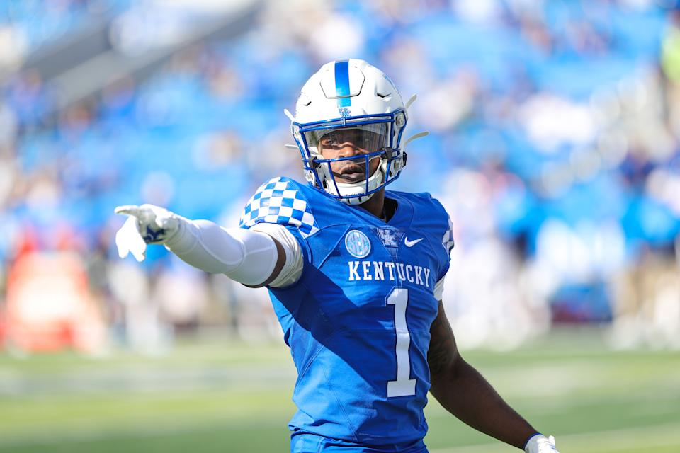 LEXINGTON, KY - OCTOBER 3: Kelvin Joseph #1 of the Kentucky Wildcats prepares for a play against the Ole Miss Rebels on October 3, 2020 at Commonwealth Stadium in Lexington, Kentucky. (Photo by UK Athletics/Collegiate Images/Getty Images)