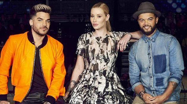 Iggy with her X Factor judges Adam Lambert and Guy Sebastian. Source: Channel 7