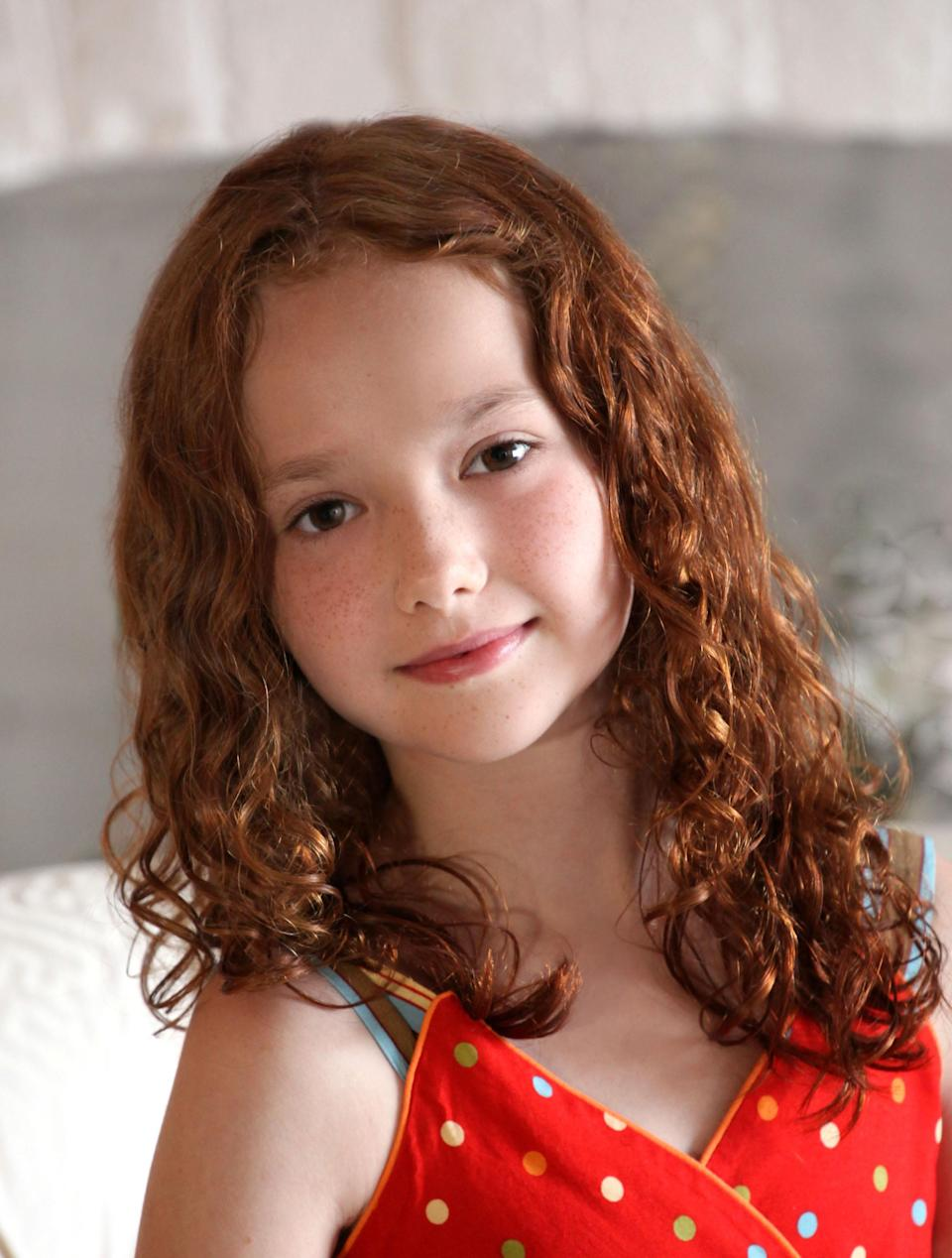 """In this undated publicity image, actress Taylor Richardson poses for a photo. Richardson and fellow actress Sadie Sink will share the title role in """"Annie,"""" the stage's most famous redhead beginning July 30. They replace Lilla Crawford, whose last performance will be on July 28. (AP Photo/Boneau/Bryan-Brown)"""