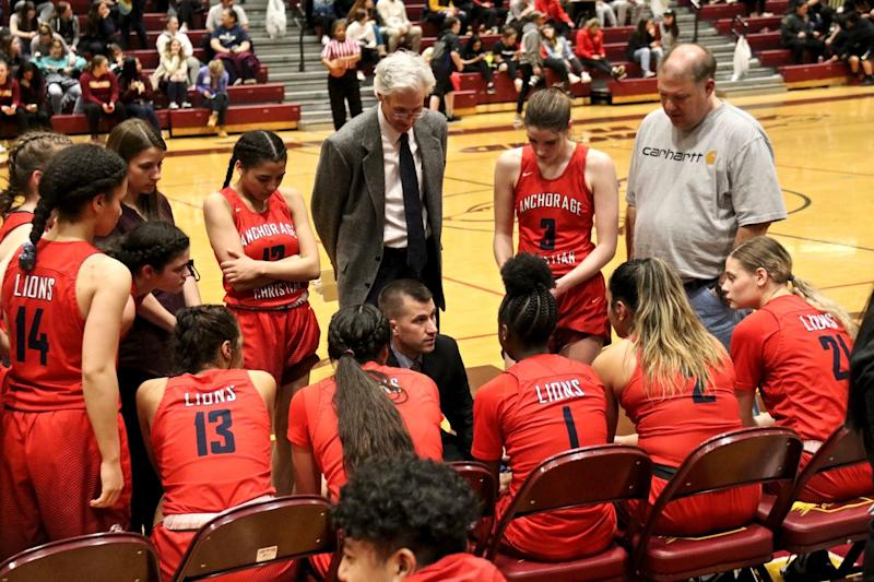 Anchorage Christian School's Lady Lions, led by coach Chad Dyson, were one game away from the state tournament when it was canceled due to coronavirus. (Photo courtesy of Christy Rutter)