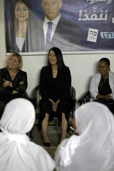 Penina Tamanu-Shata (R), Orna Barbivay (L), and Gadeer Kamal Mreeh (C) give a conference in the Israeli Druze village of Daliyat al-Karmel on August 29, 2019 (AFP Photo/JALAA MAREY)