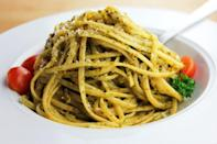 """<p>This simple herby pesto pairs with any of your <a href=""""https://www.thedailymeal.com/cook/ultimate-guide-pasta-shapes-gallery?referrer=yahoo&category=beauty_food&include_utm=1&utm_medium=referral&utm_source=yahoo&utm_campaign=feed"""" rel=""""nofollow noopener"""" target=""""_blank"""" data-ylk=""""slk:favorite pasta shapes"""" class=""""link rapid-noclick-resp"""">favorite pasta shapes</a>, though it's best served with telephone cord-shaped busiate or other long-cut pasta. Use this pesto to create a <a href=""""https://www.thedailymeal.com/best-recipes/10-pasta-dishes-you-can-make-30-minutes-or-less-0?referrer=yahoo&category=beauty_food&include_utm=1&utm_medium=referral&utm_source=yahoo&utm_campaign=feed"""" rel=""""nofollow noopener"""" target=""""_blank"""" data-ylk=""""slk:satisfying pasta dish that's ready in under 30 minutes"""" class=""""link rapid-noclick-resp"""">satisfying pasta dish that's ready in under 30 minutes</a>.</p> <p><a href=""""https://www.thedailymeal.com/recipes/pesto-alla-trapanese?referrer=yahoo&category=beauty_food&include_utm=1&utm_medium=referral&utm_source=yahoo&utm_campaign=feed"""" rel=""""nofollow noopener"""" target=""""_blank"""" data-ylk=""""slk:For the Pesto alla Trapanese recipe, click here."""" class=""""link rapid-noclick-resp"""">For the Pesto alla Trapanese recipe, click here.</a></p>"""