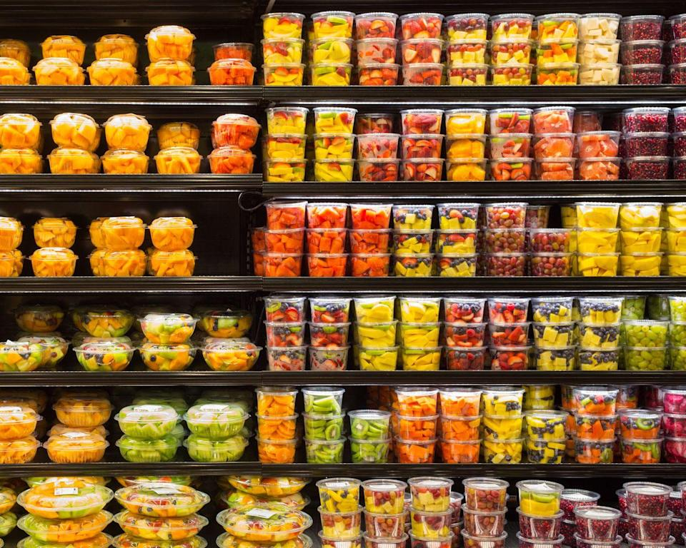 """<p>Of course, you should eat a diet rich in fruits and vegetables, says<a href=""""https://www.goodhousekeeping.com/author/11834/jaclyn-london-ms-rd-cdn/"""" rel=""""nofollow noopener"""" target=""""_blank"""" data-ylk=""""slk:Jaclyn London"""" class=""""link rapid-noclick-resp""""> Jaclyn London</a>, author of Dressing on the Side (and Other Diet Myths Debunked) and <a href=""""https://www.goodhousekeeping.com/author/11834/jaclyn-london-ms-rd-cdn/"""" rel=""""nofollow noopener"""" target=""""_blank"""" data-ylk=""""slk:Director of the Nutrition Lab at the Good Housekeeping Institute"""" class=""""link rapid-noclick-resp"""">Director of the Nutrition Lab at the Good Housekeeping Institute</a>. And if you need to grab some pre-cut fruit when you're on the run for convenience sake, it's understandable why you would opt for something pre-packaged. But if you have the time, it's best to not pay the premium on pre-sliced produce. </p>"""