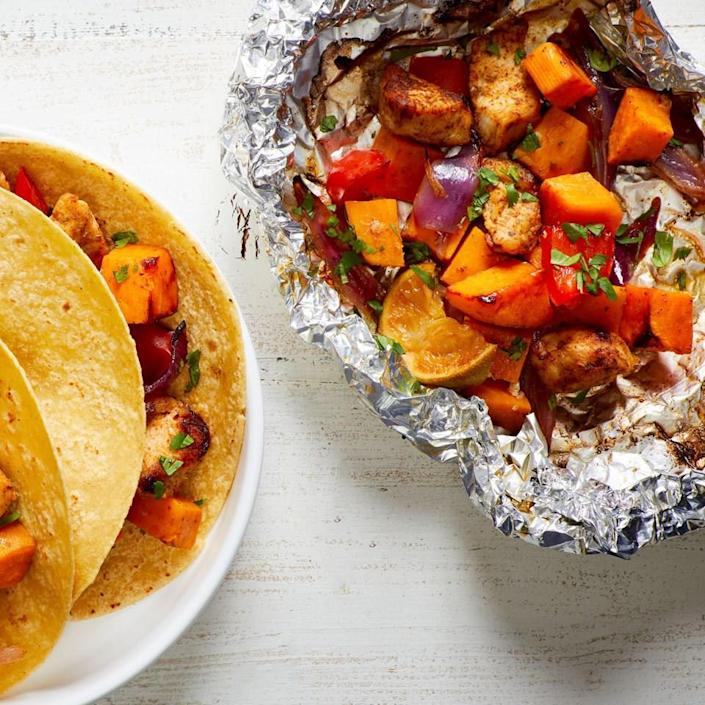 <p>Cook your whole meal in a packet on the grill with this easy veggie-loaded recipe. The Mexican-inspired seasoning makes the chicken and veggies taste great served with warm tortillas and your favorite taco toppings for a healthy dinner.</p>