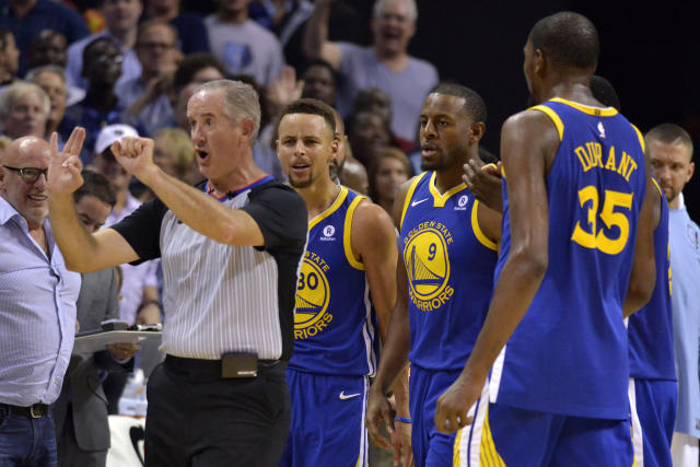 Stephen Curry and Kevin Durant were both ejected late in the fourth quarter against the Memphis Grizzlies after Curry threw his mouthguard towards a referee (AP)
