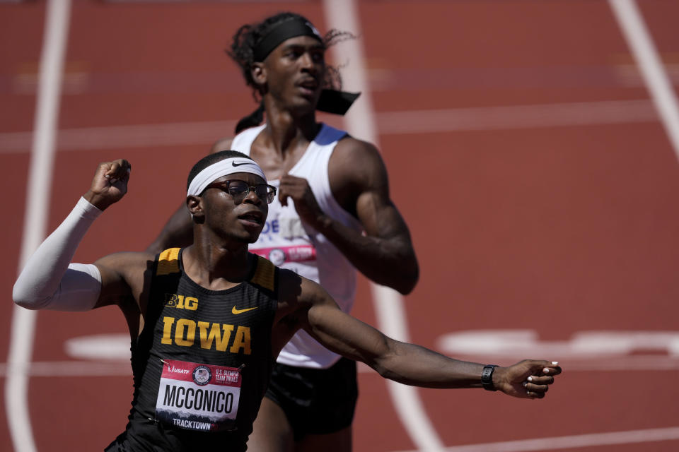 Jaylan McConico wins the fourth heat in the men's 110-meter hurdles at the U.S. Olympic Track and Field Trials Friday, June 25, 2021, in Eugene, Ore. (AP Photo/Ashley Landis)