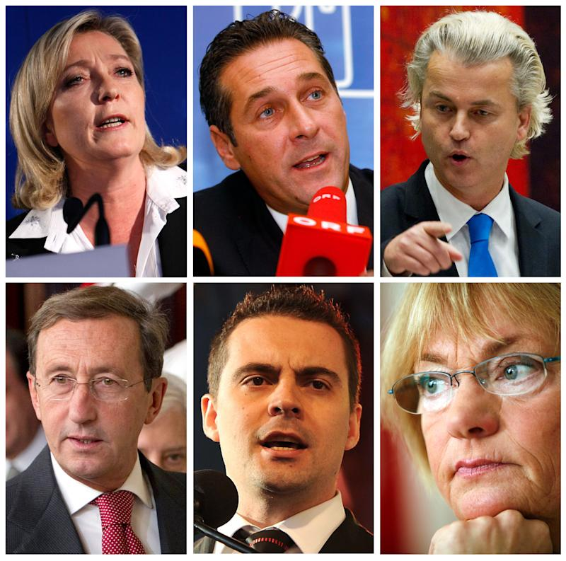 "This combination of six file photos shows from left to right, on the top: Marine Le Pen of France's National Front; Heinz Christian Strache, head of Austria's right-wing Freedom Party or FPOE; Netherlands Freedom Party lawmaker Geert Wilders. And on the bottom from left to right are: Italian Lower Chamber President Gianfranco Fini, former head of the National Alliance and currently head of Italy's Future and Liberty Party; chairman of Hungary's "" For A Better Hungary Movement or Jobbik, Gabor Vona; and  Pia Kjaersgaard head of the Danish People's Party. (AP Photos)"