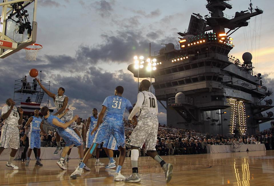 CORONADO, CA - NOVEMBER 11: Keith Appling #11 of the Michigan State Spartans drives to the basket against the North Carolina Tar Heels during the Quicken Loans Carrier Classic on board the USS Carl Vinson on November 11, 2011 in Coronado, California. (Photo by Ezra Shaw/Getty Images)