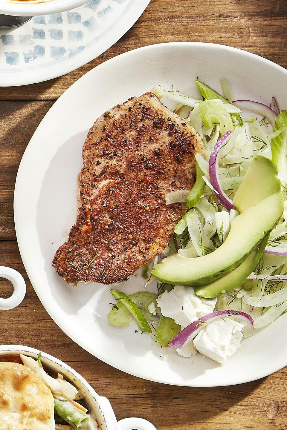 "<p>A fennel, avocado, and red onion slaw lightens up smoky chicken cutlets.</p><p><strong><a href=""https://www.countryliving.com/food-drinks/recipes/a44250/blackened-chicken-fennel-slaw-recipe/"" rel=""nofollow noopener"" target=""_blank"" data-ylk=""slk:Get the recipe"" class=""link rapid-noclick-resp"">Get the recipe</a>.</strong><br></p><p><a class=""link rapid-noclick-resp"" href=""https://www.amazon.com/Corelle-Square-Simple-Lines-Lunch/dp/B008T2MSTW?tag=syn-yahoo-20&ascsubtag=%5Bartid%7C10050.g.648%5Bsrc%7Cyahoo-us"" rel=""nofollow noopener"" target=""_blank"" data-ylk=""slk:SHOP PLATES"">SHOP PLATES</a></p>"