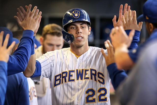 Christian Yelich's MVP-level play in Milwaukee will be necessary to keep the Brewers in contention as the NL Central becomes a four-team race. (Photo by Dylan Buell/Getty Images)