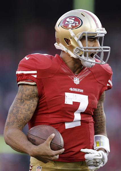 San Francisco 49ers quarterback Colin Kaepernick (7) reacts after being sacked by Carolina Panthers middle linebacker Luke Kuechly during the fourth quarter of an NFL football game in San Francisco, Sunday, Nov. 10, 2013. The Panthers won 10-9. (AP Photo/Ben Margot)