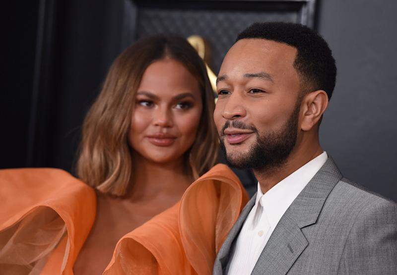 Teigen and Legend arrive at the 62nd annual Grammy Awards at the Staples Center on Jan. 26 in Los Angeles. (Photo: Jordan Strauss/Invision/AP)