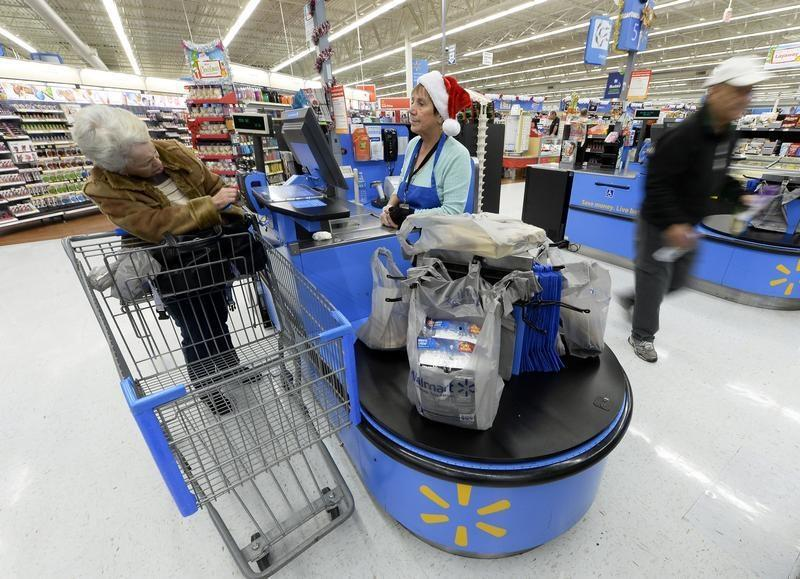 Customers shop at the Wal-Mart Supercenter in the Porter Ranch section of Los Angeles