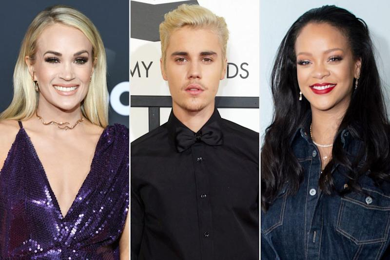 Famous Pisces Carrie Underwood, Justin Bieber and Rihanna | Kevin Mazur/Getty; Kristy Sparow/Getty; Jeff Vespa/WireImage