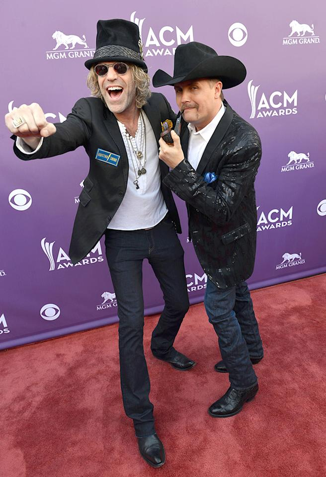 LAS VEGAS, NV - APRIL 07:  (L-R) Musicians Big Kenny and John Rich of Big & Rich attend the 48th Annual Academy of Country Music Awards at the MGM Grand Garden Arena on April 7, 2013 in Las Vegas, Nevada.  (Photo by Rick Diamond/ACMA2013/Getty Images for ACM)