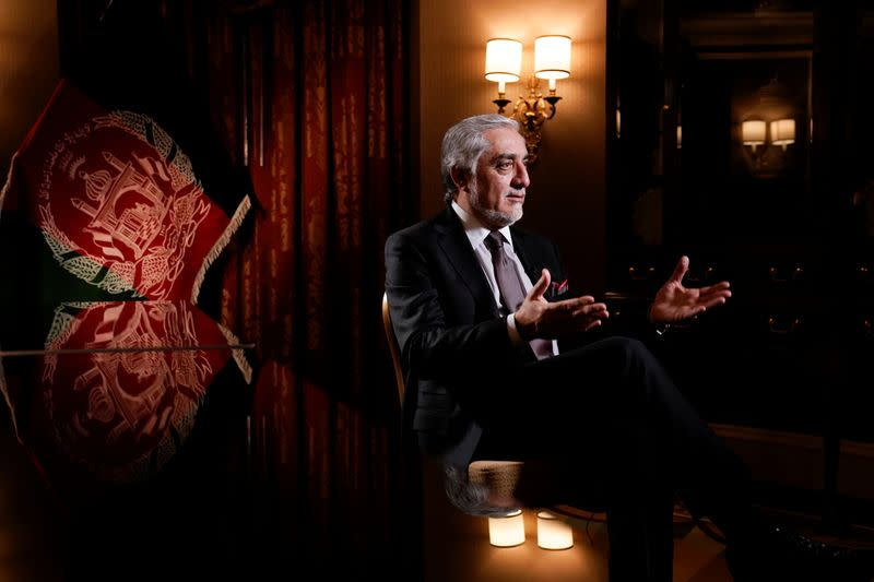 Chairman of Afghanistan's High Council for National Reconciliation Abdullah Abdullah speaks during an interview with Reuters at the Willard Hotel