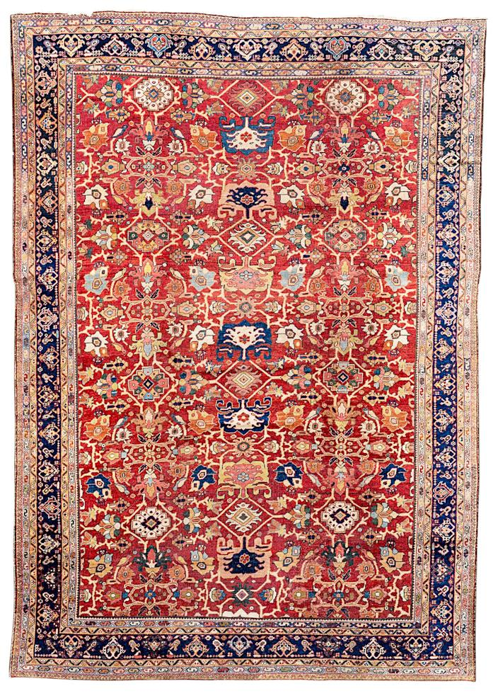 """<div class=""""caption""""> Antique Mahal rug; price upon request. <a href=""""https://www.woven.is/"""" rel=""""nofollow noopener"""" target=""""_blank"""" data-ylk=""""slk:woven.is"""" class=""""link rapid-noclick-resp""""><em>woven.is</em></a> </div> <cite class=""""credit"""">Photo: Courtesy of Woven</cite>"""