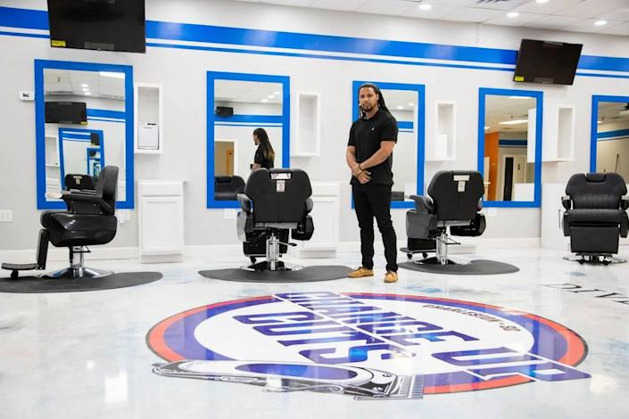 Feidin Santana at his new barber shop, Change Up Cuts in North Charleston, South Carolina on Wednesday, April 28, 2021. He will have more than 14 barbers and stylists at his new shop.