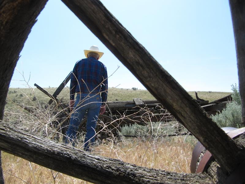Max Benitz examines an old wagon at the McWhorter Ranch in Benton County, northeast of Prosser, Wash. on May 18, 2012. The descendants of the man who settled the ranch in 1903 are putting it up for sale, and Benitz is among those hoping it can be preserved for public use. (AP Photo/Shannon Dininny)