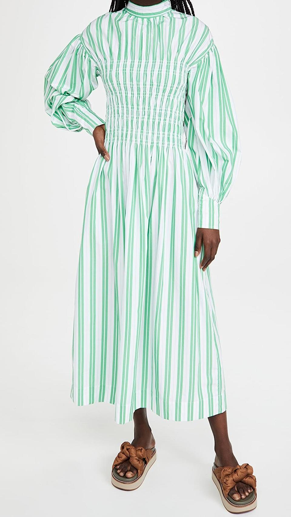 <p>This <span>Ganni Stripe Cotton Dress</span> ($325) is so unique, and even though it's covered, it's still lightweight.</p>
