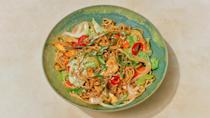 """Loosely inspired by Japanese yakisoba, these hearty and utilitarian stir-fried noodles are the ideal vehicle for less-than-perky scallions, that random carrot, and the last few stalks of celery you forgot about in the back crisper drawer. –<strong>Christina Chaey</strong>, <em>senior food editor</em> <a href=""""https://www.bonappetit.com/recipe/stir-fried-noodles-with-chicken?mbid=synd_yahoo_rss"""" rel=""""nofollow noopener"""" target=""""_blank"""" data-ylk=""""slk:See recipe."""" class=""""link rapid-noclick-resp"""">See recipe.</a>"""