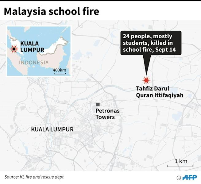 Map of Kuala Lumpur where 24 people, mostly students, were killed in a school fire Thursday, according to an official