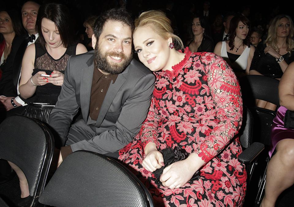 Adele and Simon Konecki at the 55th Annual Grammy Awards on February 10, 2013 in Los Angeles. (Photo: EMPICS Entertainment)