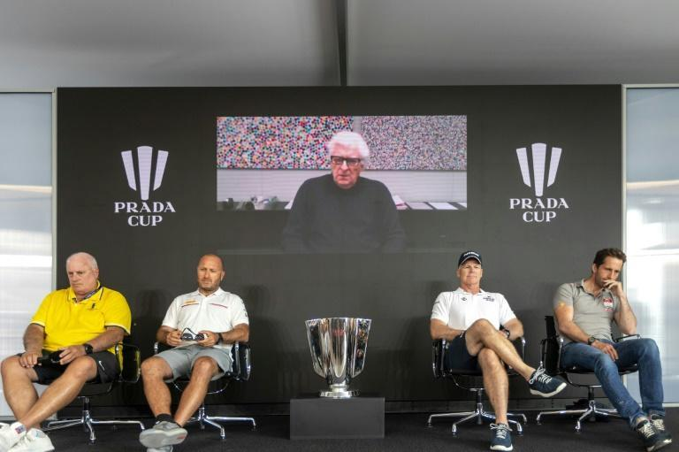From left, America's Cup director Iain Murray, Luna Rossa's Max Sirena, American Magic's Terry Hutchinson and Ben Ainslie of INEOS Team UK listen to Prada CEO Patrizio Bertelli via video link at a news conference ahead of the Prada Cup in Auckland