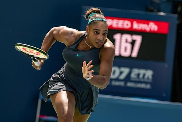 Serena Williams of the US in action against Bianca Andreescu of Canada during the finals of the Rogers Cup women's tennis tournament in Toronto, Canada, 11 August 2019. (Tenis) EFE/EPA/WARREN TODA