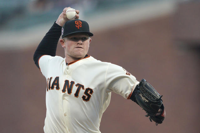 San Francisco Giants pitcher Logan Webb works against the Pittsburgh Pirates during the first inning of a baseball game Wednesday, Sept. 11, 2019, in San Francisco. (AP Photo/Tony Avelar)
