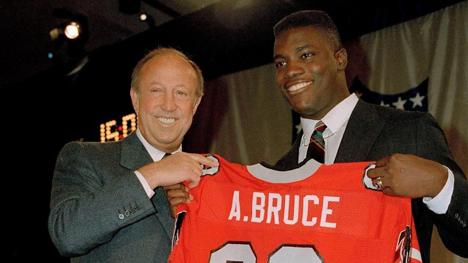 Mandatory Credit: Photo by Peter Moran/AP/Shutterstock (6032824a)Aundray Bruce Aundray Bruce, right, holds up his new jersey with NFL Commissioner Pete Rozelle at the NFL Draft at the Marriott Marquis Hotel in New York, .