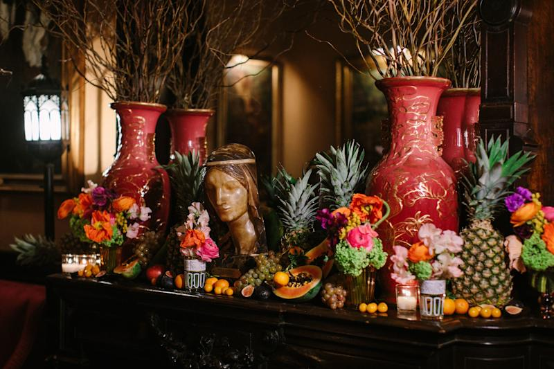 Mantle by McQueens. Guests were particularly excited to discover that the guavas and kumquats were edible. It was the perfect tropical foil to the National Arts Club's stylishly disordered Neo-Victorian vibe.