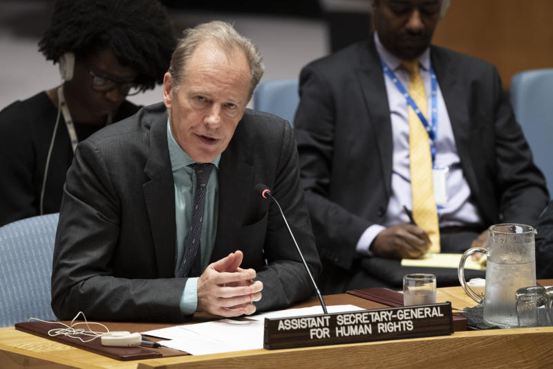 In this June 14, 2019, photo provided by the United Nations, Andrew Gilmour, assistant secretary-general for human rights, addresses the Security Council meeting on the situation in Sudan and South Sudan at U.N. headquarters. Gilmour says the past decade has seen backlash on human rights on every front, especially on the rights of women and the LGBT communities. (Evan Schneider/United Nations via AP)