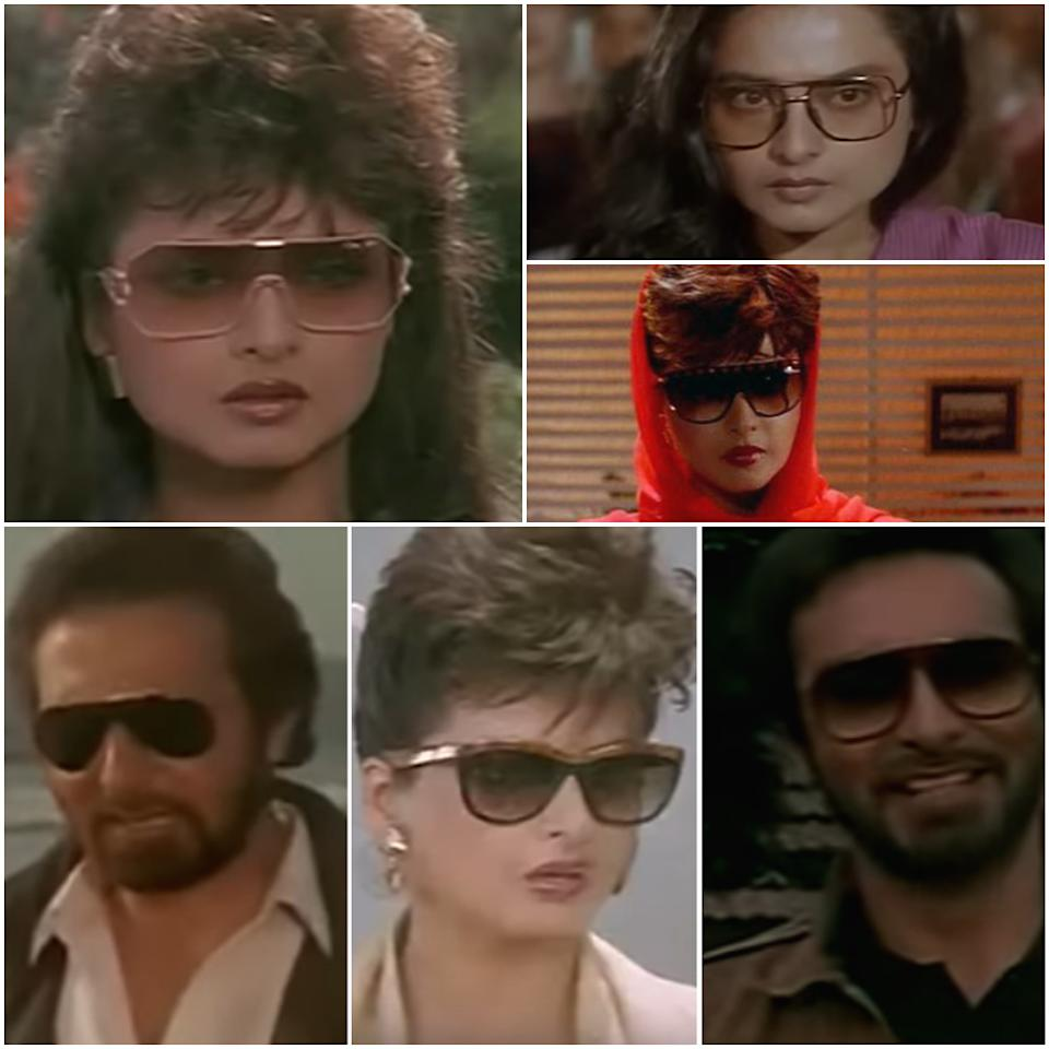 While the Eighties do boast of their share of eyewear eccentricities, it is the Rekha starrer revenge drama Khoon Bhari Maang (1988) that deserves our focus. The film has a spectacular display of eyegear that leaves you gobsmacked. Rekha and Kabir Bedi in Khoon Bhari Maang (1988)
