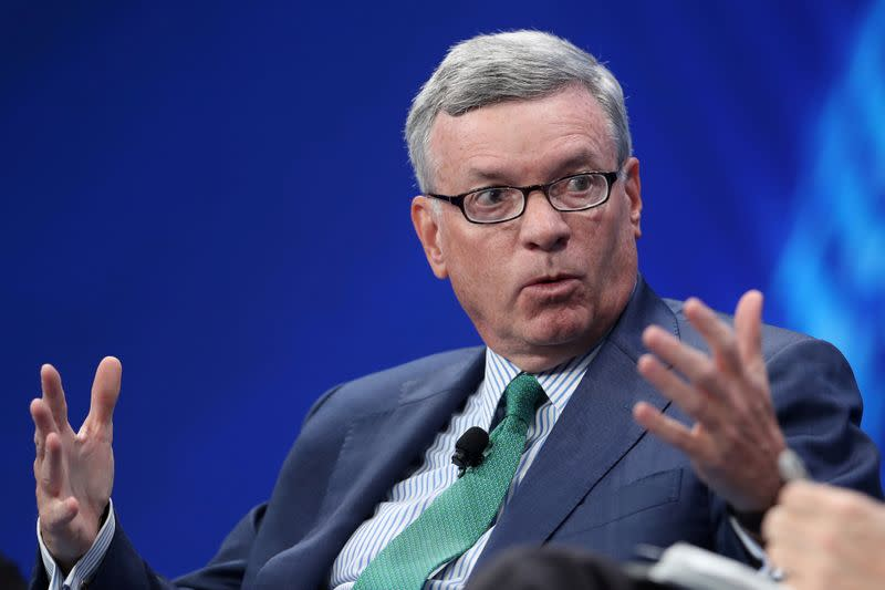 FILE PHOTO: Alfred Kelly, Jr., CEO, Visa Inc. speaks at the 2019 Milken Institute Global Conference in Beverly Hills