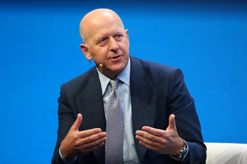 FILE PHOTO:David M. Solomon speaks during the Milken Institute Global Conference in Beverly Hills