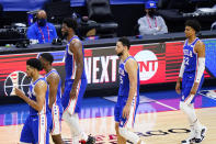 Philadelphia 76ers' players walk to the bench during a timeout during the second half of Game 5 in a second-round NBA basketball playoff series against the Atlanta Hawks, Wednesday, June 16, 2021, in Philadelphia. (AP Photo/Matt Slocum)