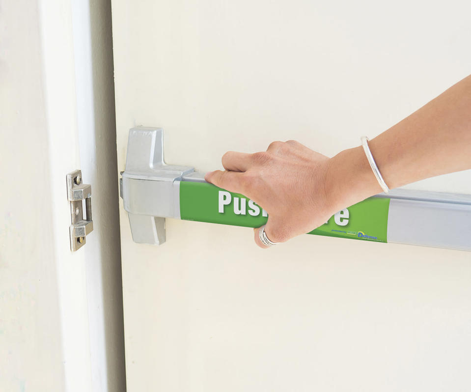 """nanoDefense® product with """"Push Here"""" on door. Image provided by nanoDefense®."""