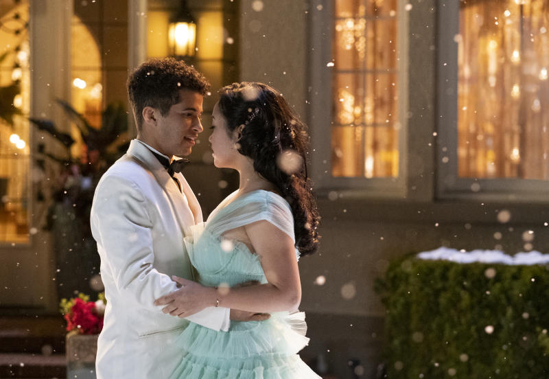 "In this undated image provided by Netflix is Lana Condor, right, and Jordan Fisher in a scene from the film, ""To All The Boys: P.S. I Still Love You."" (Bettina Strauss/Netflix via AP)"