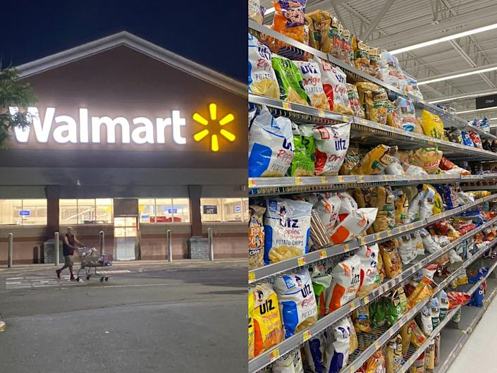 the exterior of walmart; the chip aisle in a walmart