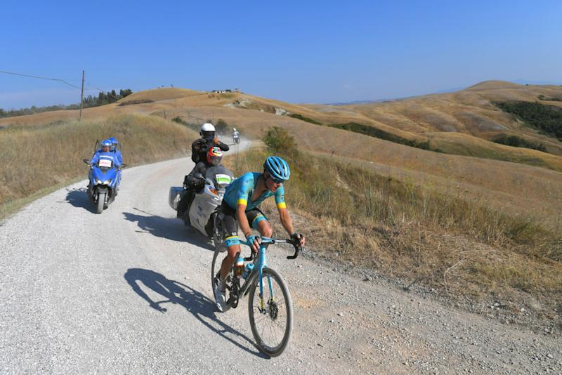 SIENA ITALY AUGUST 01 Jakob Fuglsang of Denmark and Astana Pro Team Gravel Strokes during the Eroica 14th Strade Bianche 2020 Men a 184km race from Siena to SienaPiazza del Campo StradeBianche on August 01 2020 in Siena Italy Photo by Tim de WaeleGetty Images