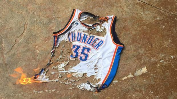 thunder jersey burned