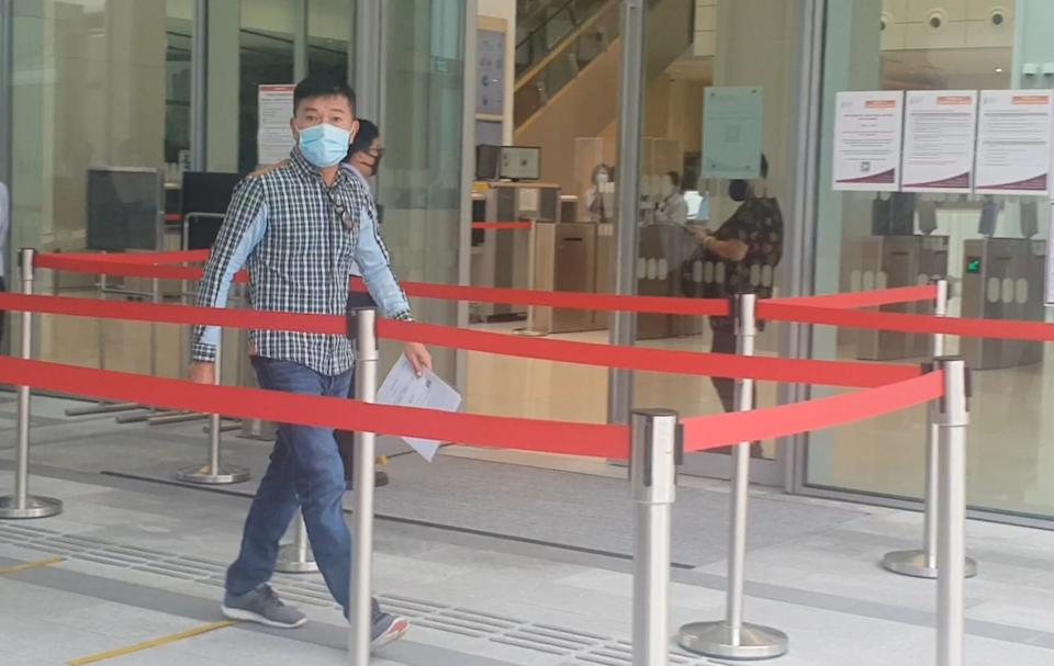 George Heng Seng Huat seen leaving the State Courts on 22 May 2020. (Photo: Yahoo News Singapore)