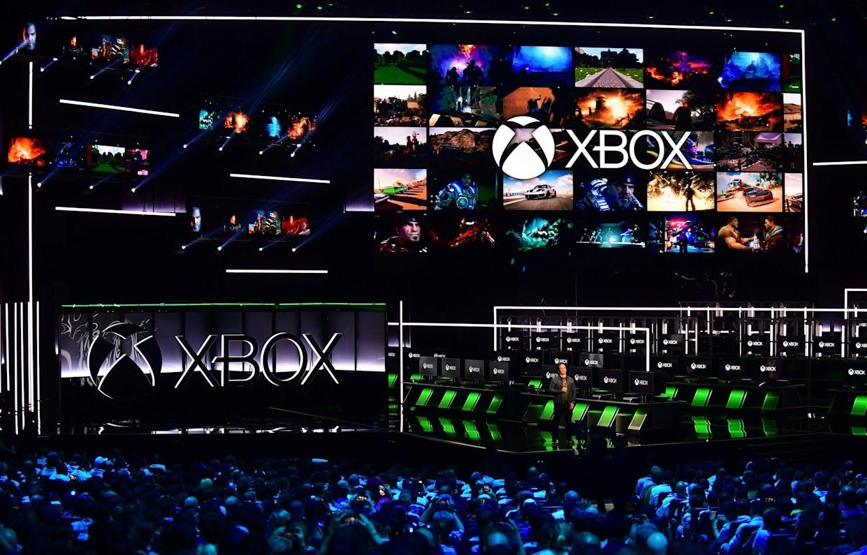 Phil Spencer, Executive President of Gaming at Microsoft addresses the audience at the Xbox 2018 E3 briefing in Los Angeles, California on June 10, 2018 ahead of the 24th Electronic Entertainment Expo which opens on June 12: Frederic J. BROWN / AFP