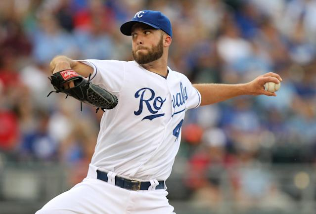 Kansas City Royals starting pitcher Danny Duffy throws in the first inning during a baseball game against the Minnesota Twins Wednesday, July, 30, 2014, in Kansas City, Mo. (AP Photo/Ed Zurga)