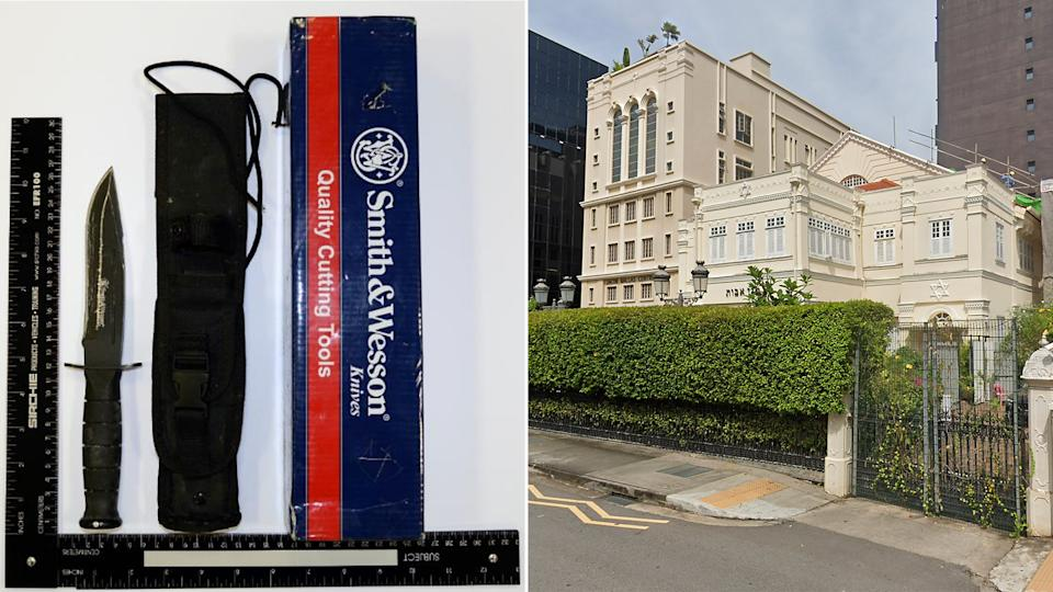 Amirull Ali had planned to use a Smith and Wesson knife (left) for his attack on the Maghain Aboth synagogue (right) along Waterloo Street. (PHOTOS: MHA / Google Street View screengrab)