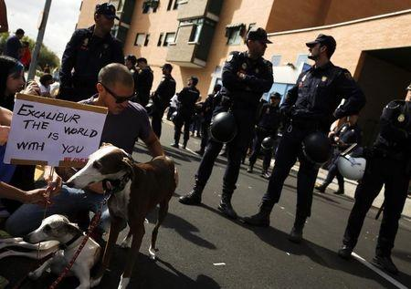 Demonstrators with pets hold signs in support of Excalibur, the dog of the Spanish nurse who contracted Ebola,  in Alcorcon, outside Madrid
