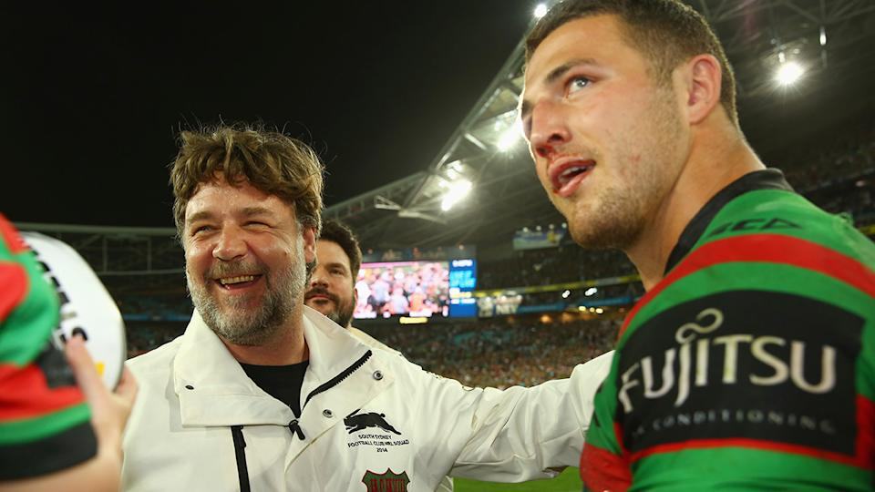 Russell Crowe and Sam Burgess, pictured here after the Rabbitohs won the 2014 NRL grand final.
