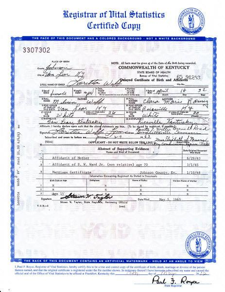 """An image of the birth certificate of country music legend Loretta Lynn, who was born Loretta Webb, is seen in an image provided by the Kentucky state Office of Vital Statistics. Newly discovered documents indicate country music legend Loretta Lynn is three years older than she has led people to believe, a change that casts shadows on the story told in """"Coal Miner's Daughter."""" The birth certificate on file at the state Office of Vital Statistics in Frankfort, Ky., shows that Loretta Webb was born on April 14, 1932, in Johnson County, Kentucky. That makes her 80 years old, not 77, as numerous books and other references claim her to be, based on her widely-accepted birth year of 1935. The record was filed in 1965. (AP Photo/Kentucky state Office of Vital Statistics)"""