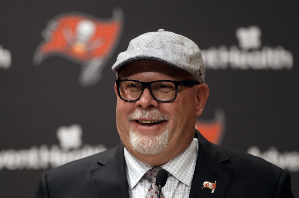 New Tampa Bay Buccaneers head coach Bruce Arians smiles as he is introduced during a news conference Thursday, Jan. 10, 2019, in Tampa, Fla. (AP Photo/Chris O'Meara)